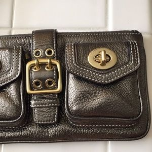 Coach Bags - Coach double pocket metallic bronze wristlet